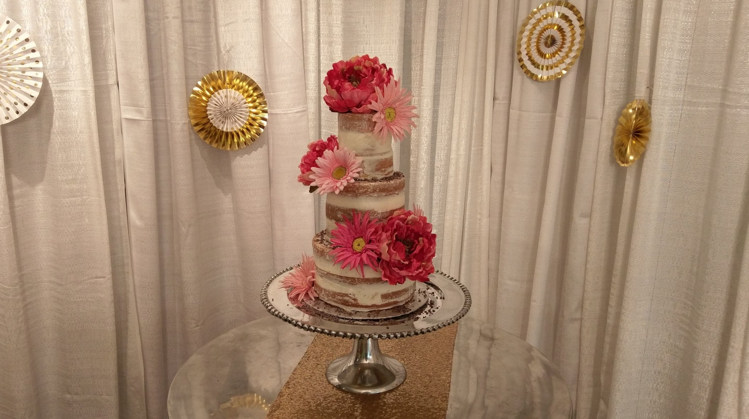 Naked - Crumb Coated Cake with Silk Florals