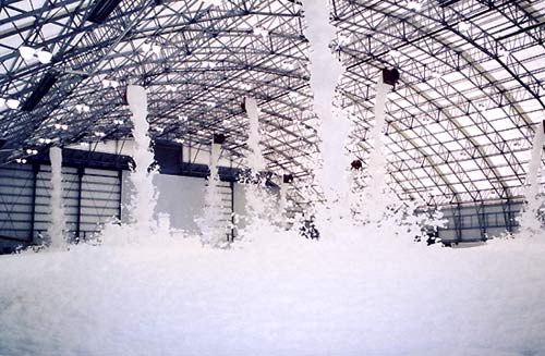 Ansul high expansion foam system discharge (aircraft hanger)