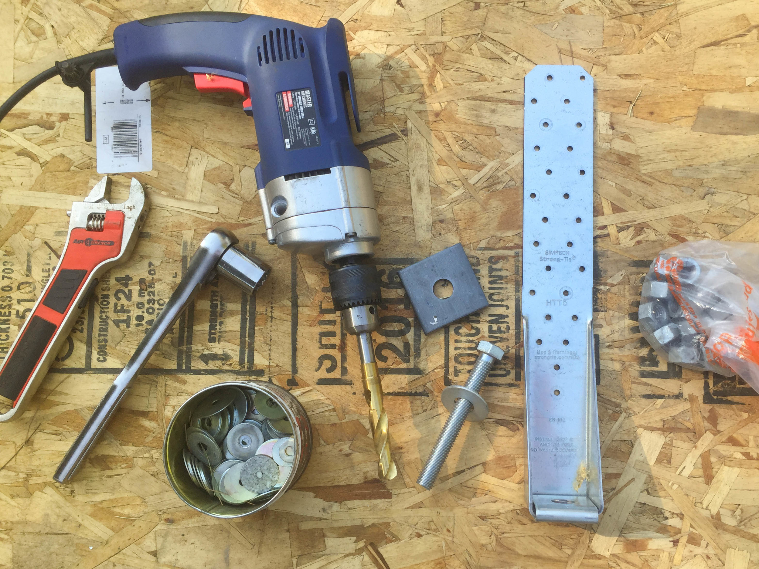 Some of the tools and materials we used to anchor the sills and hold-downs.