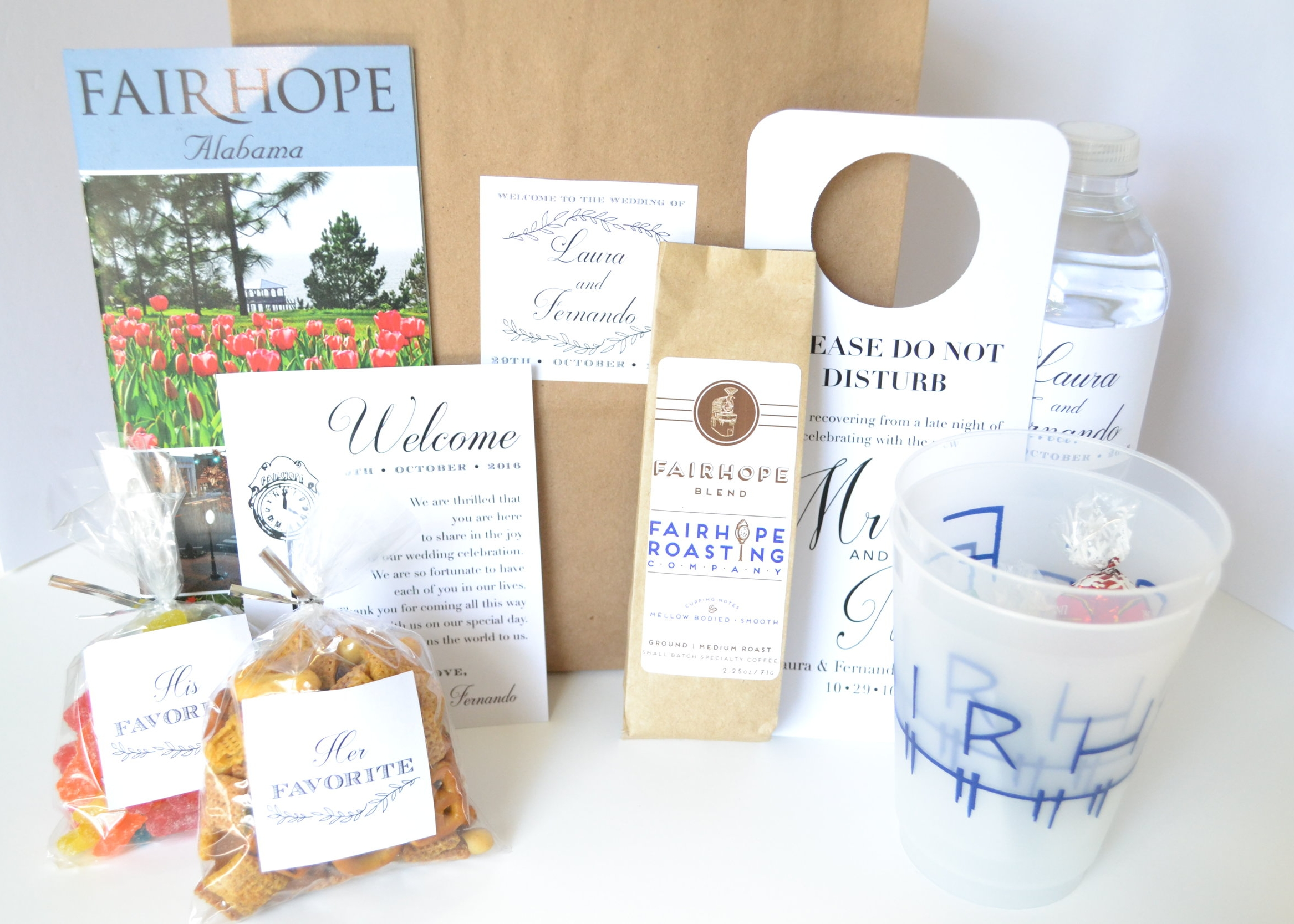Cups- Fairhope Store; Coffee- Fairhope Roasting Co.; Fairhope Clock Design- Soiree Signatures, Labels and Sign- personal friend of Bride and Groom