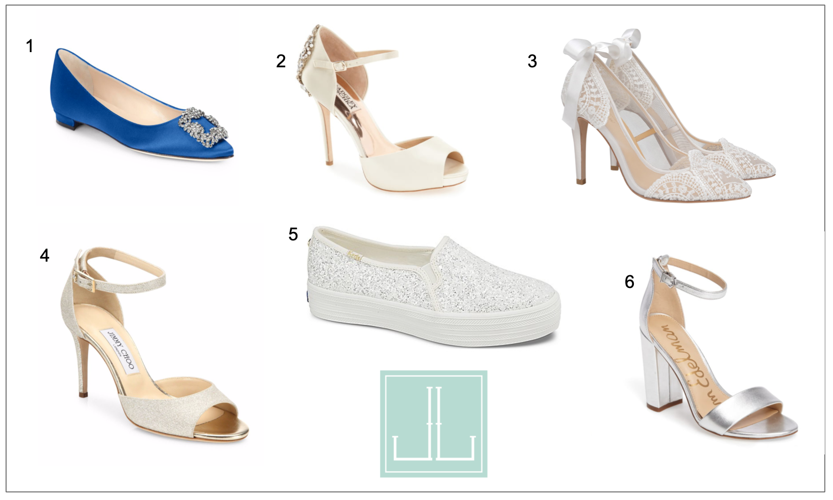 1)  Minolo Blahnik Hangisi 25 Ebelished Satin Flats   2)  Badgley Mischka 'Dawn' Crystal Back d'Orsay Pump   3)  Bella Belle Giselle Pump   4)  Jimmy Choo Annie d'Orsay Angle Strap Glitter Sandals   5)  Keds x Kate Spade New York Tripple Decker Glitter Sneaker   6)  Sam Edelman Yaro Ankle Strap Sandal