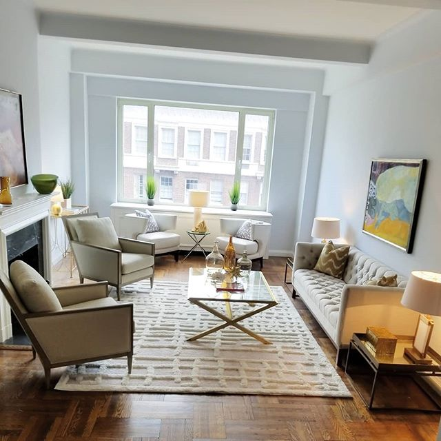 Classic New York elegance abounds in the expansive sunken living room in this weeks project @ Sutton place south. #nycrealestate #nycresidentialstaging #suttonplacesouth #prewar #redjacketresidential #warburg