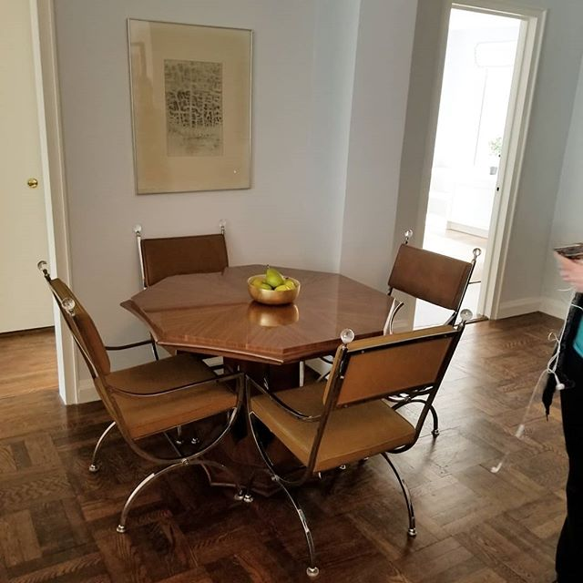 Old Hollywood meets sutton place with this vintage Harvey Probber designed dining table mated with Director'/Regency style chairs in chrome and suede. Installed In the dining nook at this weeks first project. #nycrealestate #nycresidentialstaging #harveyprobber #midcenturymodern #hollywoodregencydecor #warburg #redjacketresidential