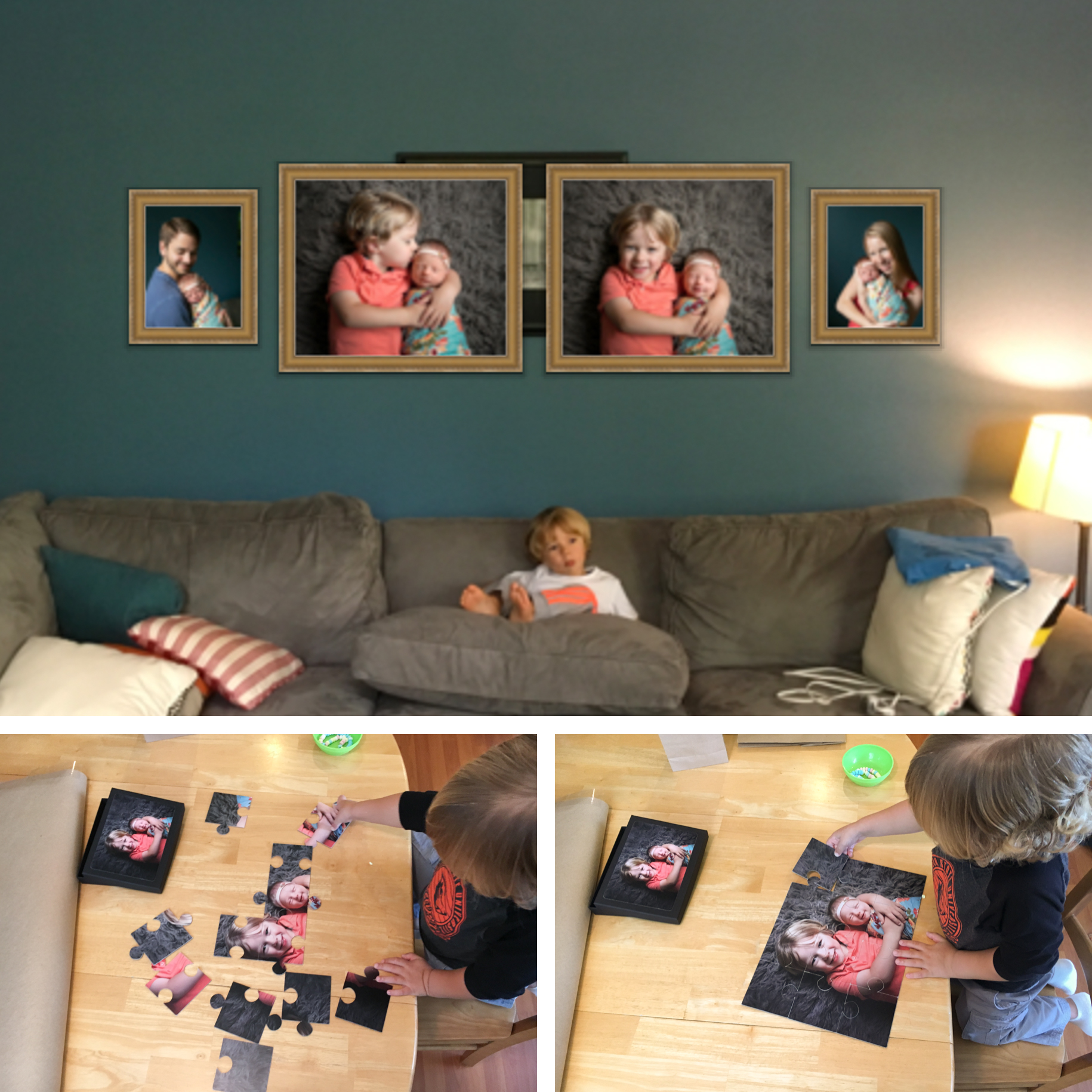 In home newborn photographer wall art and puzzle.jpg