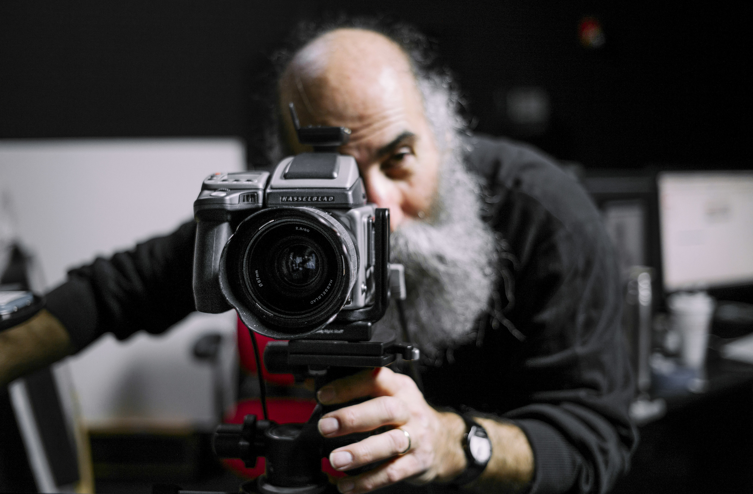 "Smithsonian National Portrait Gallery staff photographer Mark Gulezian poses for a portrait shoot at his studio inside of NPG's warehouse ""Apollo"" in Largo, MD, Tuesday, Feb. 3, 2016. Mark has been worked as a on site object photographer over 40 years."