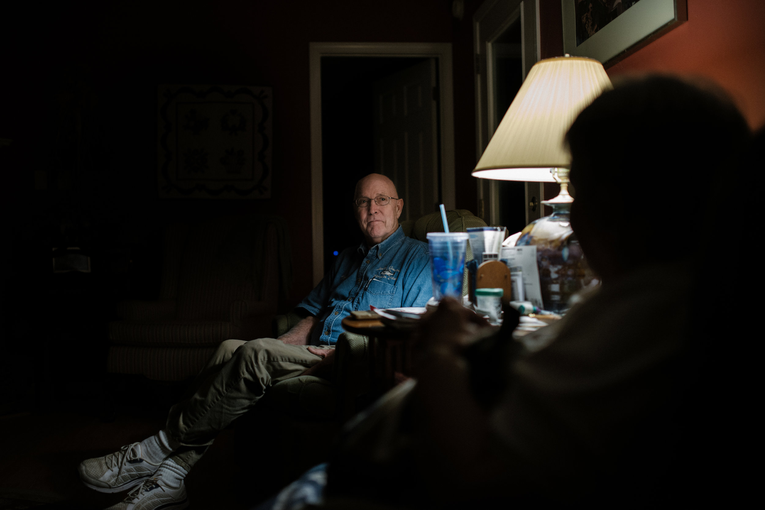 Thomas C. Field, 78, talks with his wife Josephine A. Field, 78, about his heath situation on Wednesday, November 4th, 2015 in their Lake Gaston House in Littleton, North Carolina.