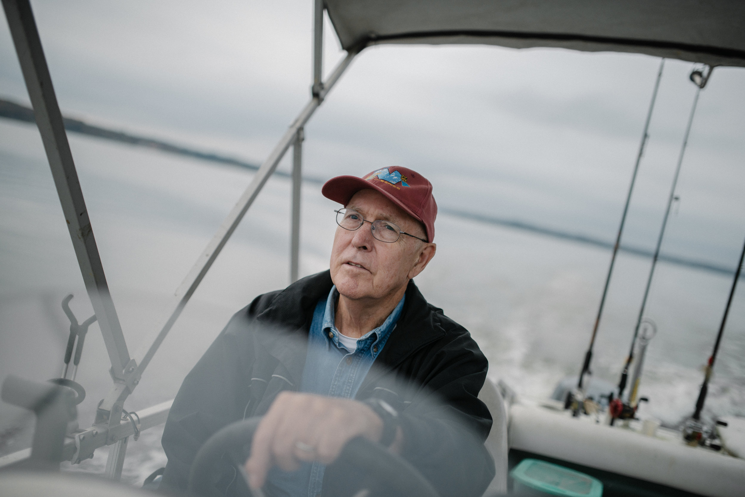Thomas C. Field, 78, drives his boat through Lake Gaston on Wednesday, November 4th, 2015 in Littleton, North Carolina. Sailing and fishing are main reasons he moved near Lake Gaston after retiring.