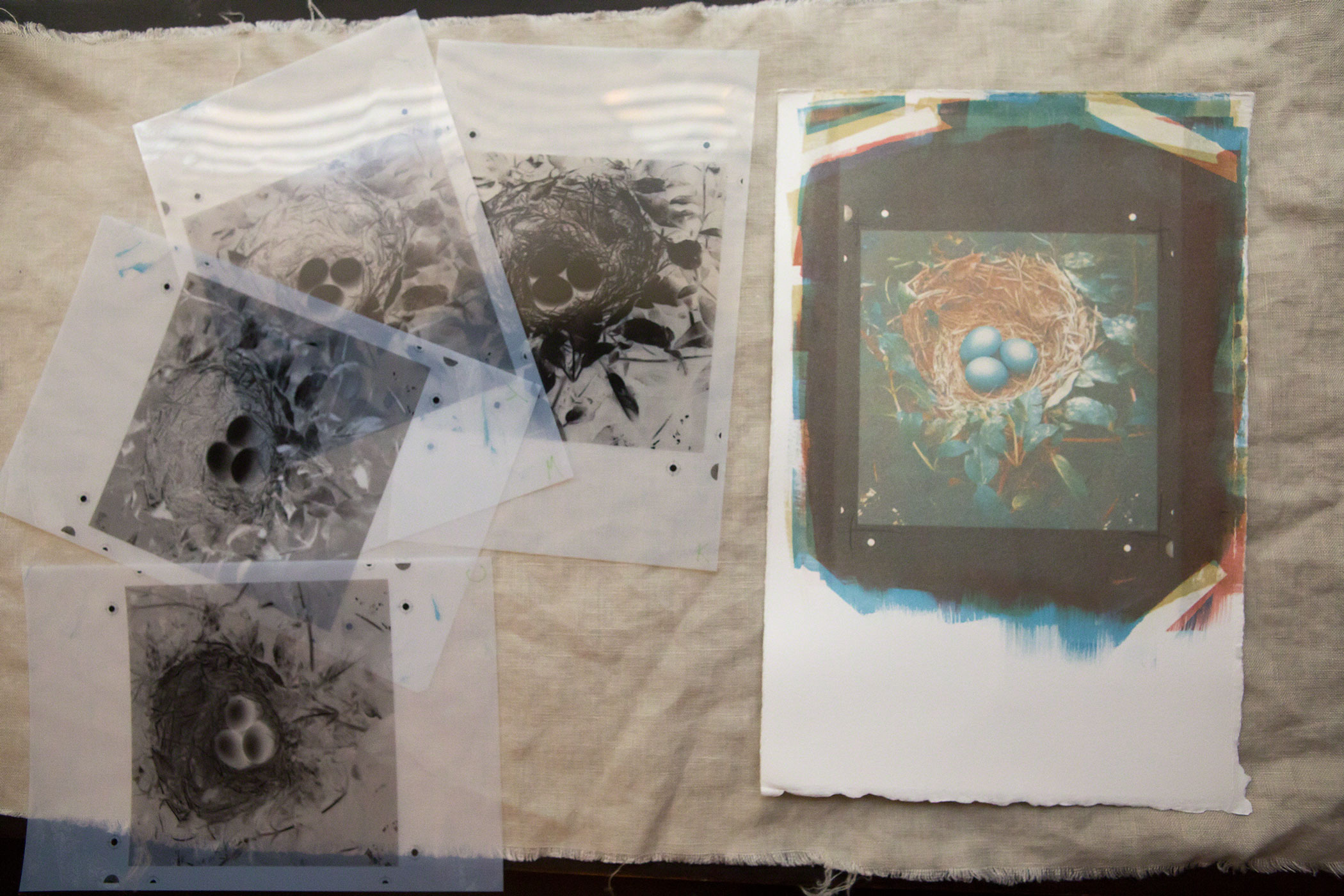 A finished print with the negatives used to create that print