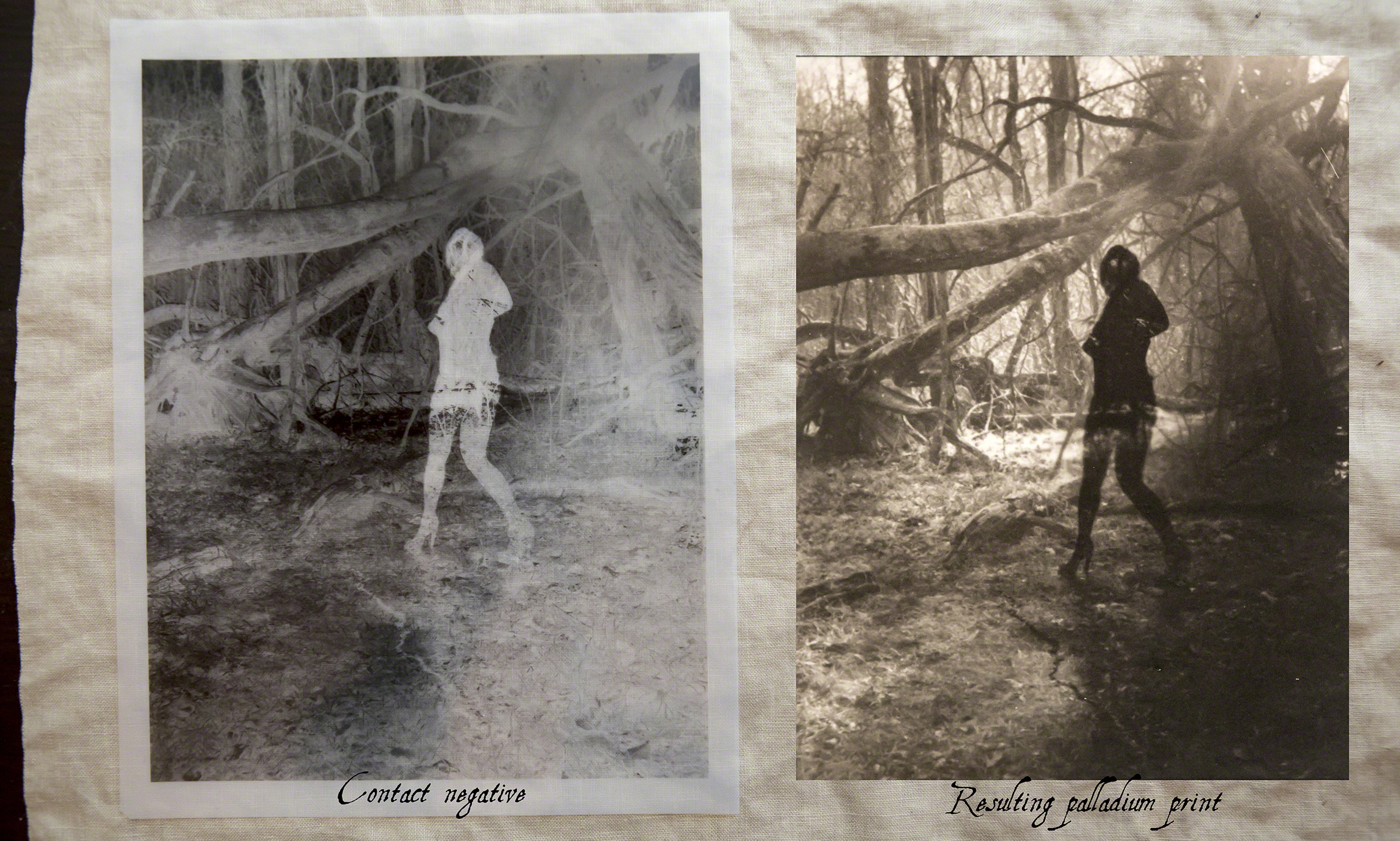 The final resulting Palladium print next to the contact print