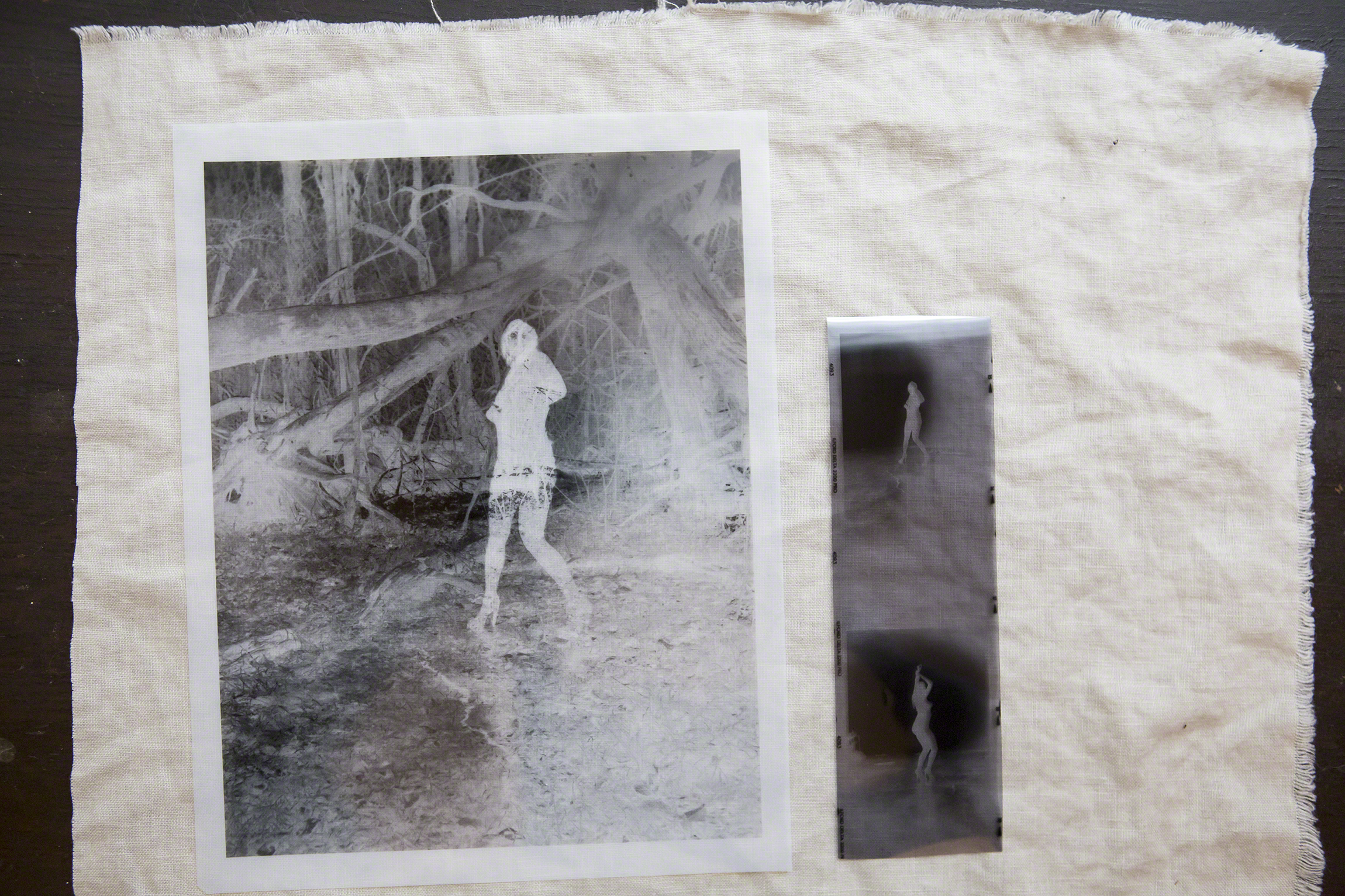 On the right is the 8x10 negative printed onto Pictorico OHP film... This allows for an 8x10 contact print instead of the smaller original negative on the right.
