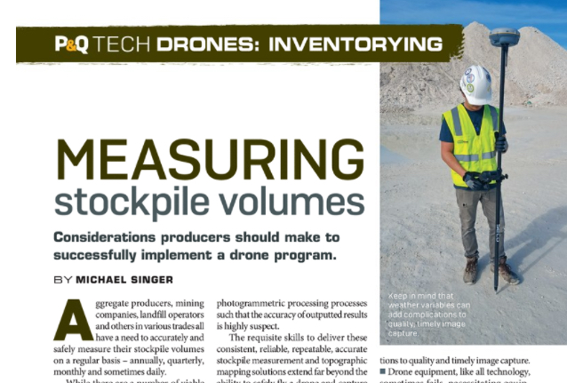 Pit & Quarry: Measuring Stockpile Volumes by Michael Singer, CEO DroneView Technologies