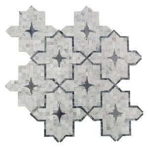 Zagora white carrera with bardiglio stars and bardilio lines