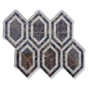 New Era dark emperador long hexagon with crema marfil dark emperador
