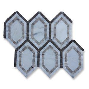 New Era White carrara long hexagon with lagos, white carrera, black