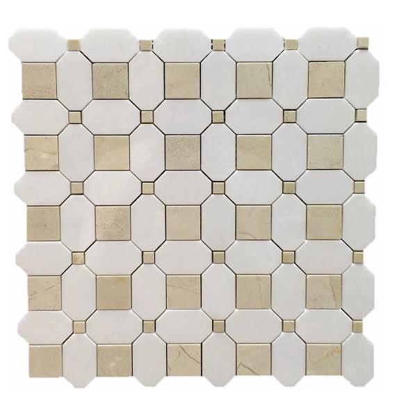 Square Weave Crema Dot