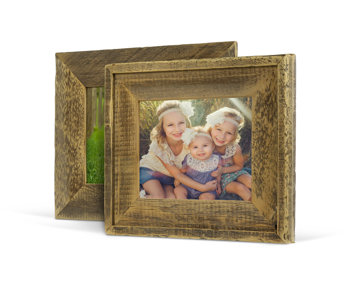"""Barnwood Frames - Add charm by displaying a special image in a genuine Barnwood Frame. From vintage themed weddings, to milestone moments, the Barnwood Frames create a natural warmth in one's home. Reveal your beautiful story with a frame that has a beautiful past.Handcrafted in Minnesota, these frames are built using reclaimed wood from old barns. Choose from two types of styles, standard Barnwood Frame or the Barnwood Frame with Trim, both with 4"""" mouldings. Barnwood Frames arrive fully assembled with your image, complete with craft paper backing, a wire hanger and a 'Minnesota Made' stamp on the back.Available in 8x10, 11x14, 12x12 & 16x20 sizes, starting at $120."""