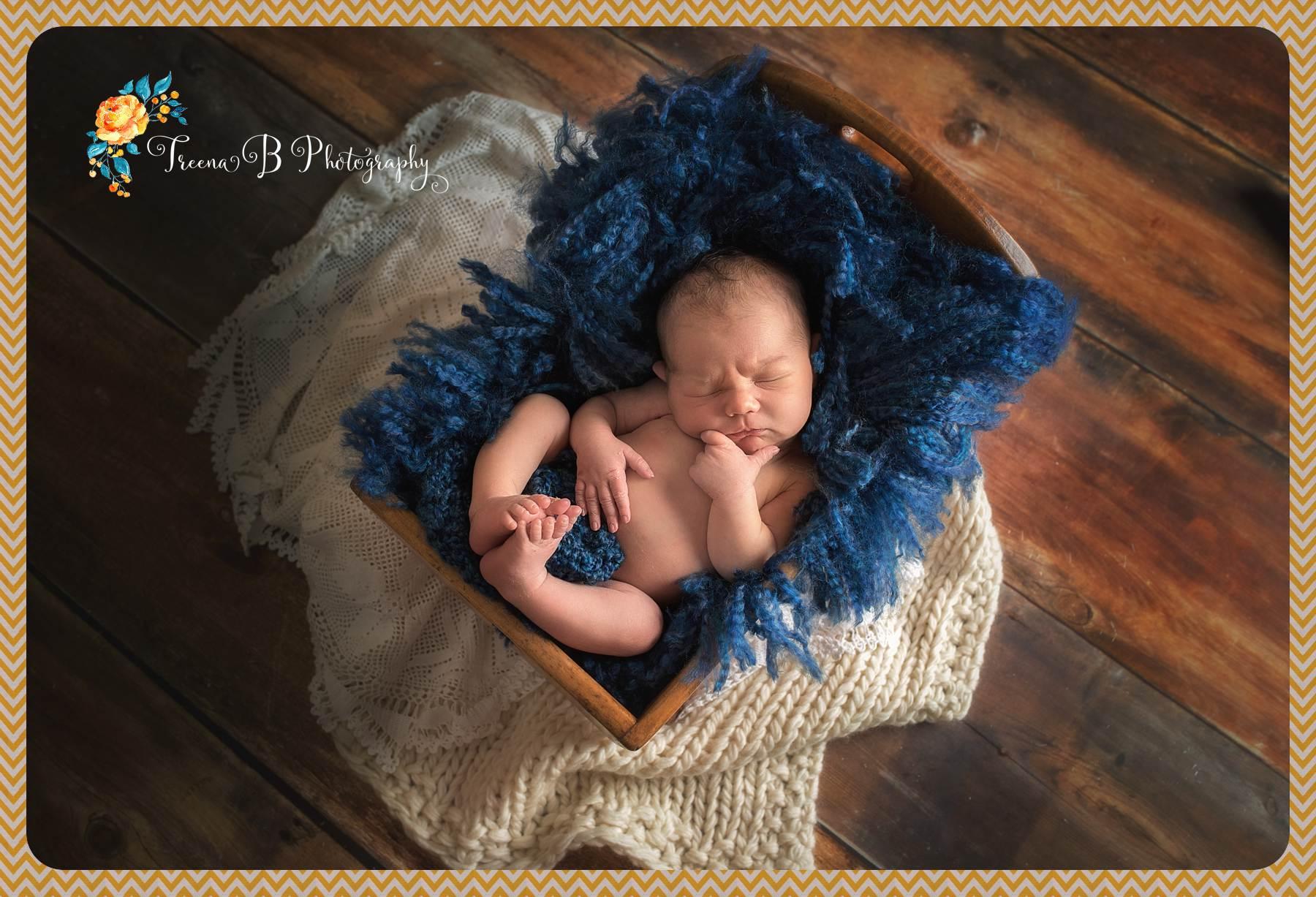 Treena B Photography Newborn in Cradle Omaha Photographer