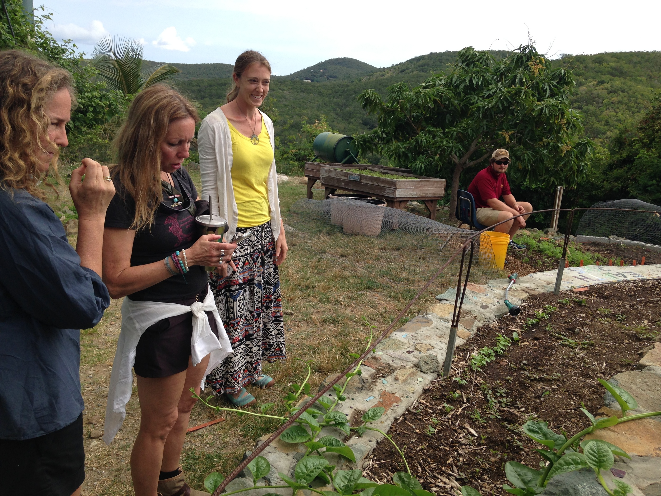Dianna Cohen, Pam Longobardi & Mary Vargo at Gifft Hill School garden, St. John