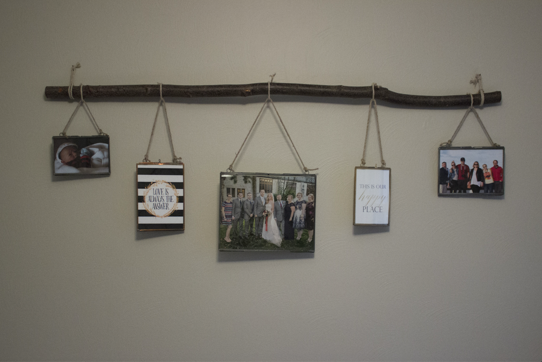 And finally I love to add family photos to personalize a room.  This photo shows a little green on the walls but you get the idea. :)