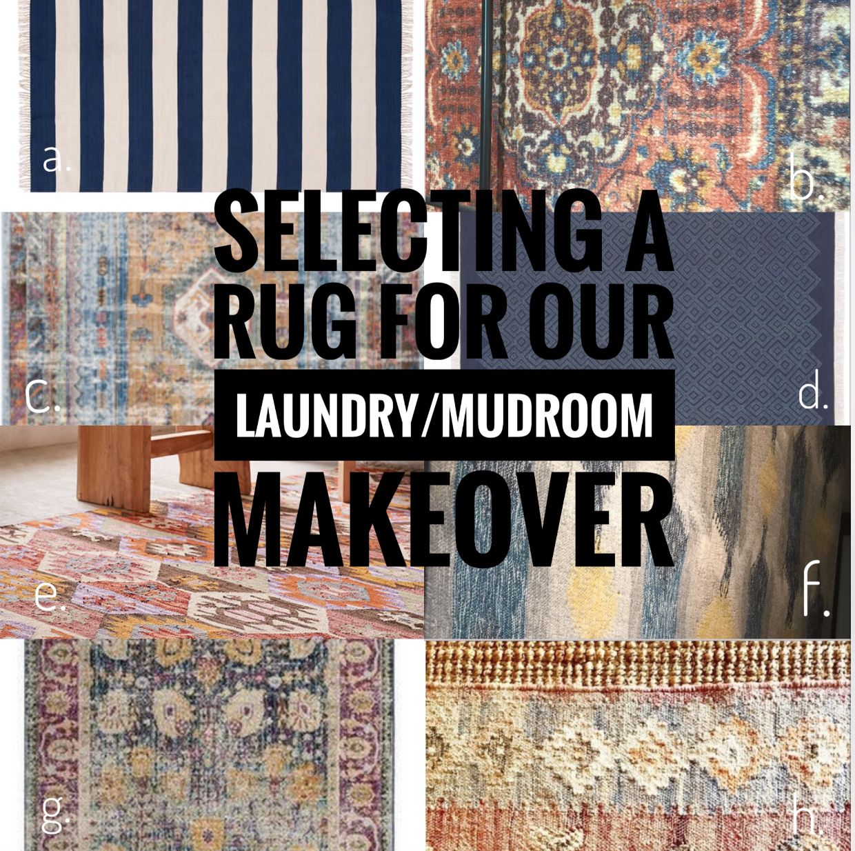 Narrowing the rug choices down.
