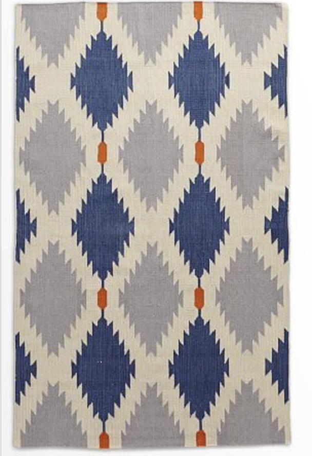 West Elm Phoenix Wool Dhurrie Rug-Regal Blue