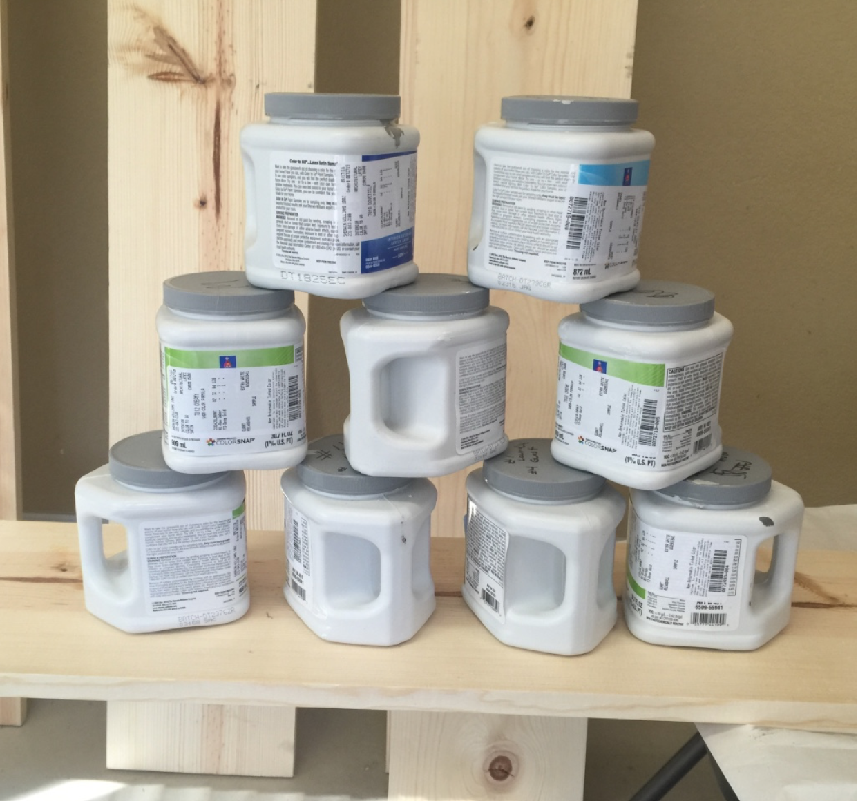 We used all the old paint samples left over from choosing wall colors (which as a bonus ties the colors throughout the house).