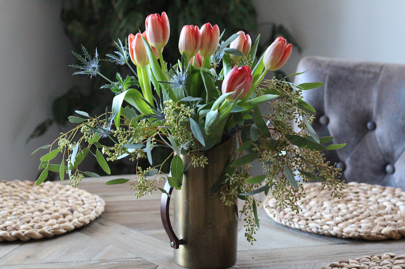 Tulips in copper vase