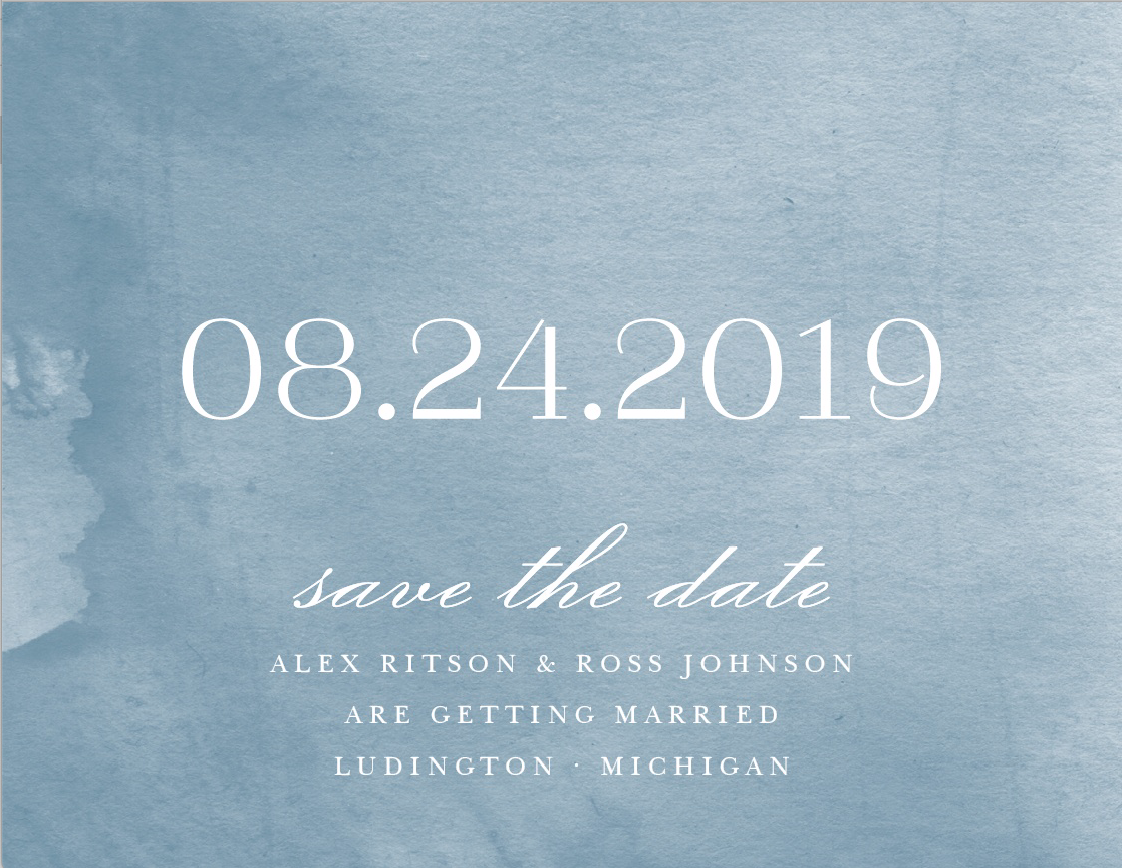 Water color Save the Date is perfect for a Lake House wedding!