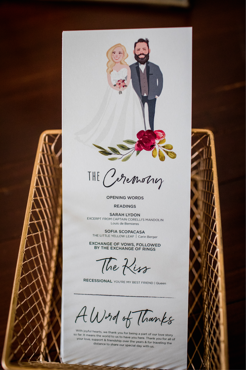 My Son-in-Law is talented and was able to draw their likeness for the Wedding Programs.