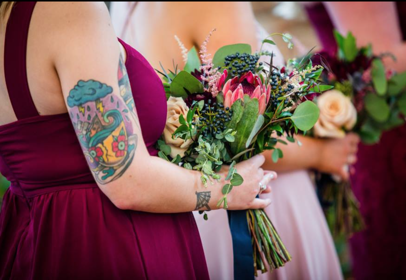 Be sure to add your favorite flowers. My daughter loves Protea and made sure to have them in her bouquets.