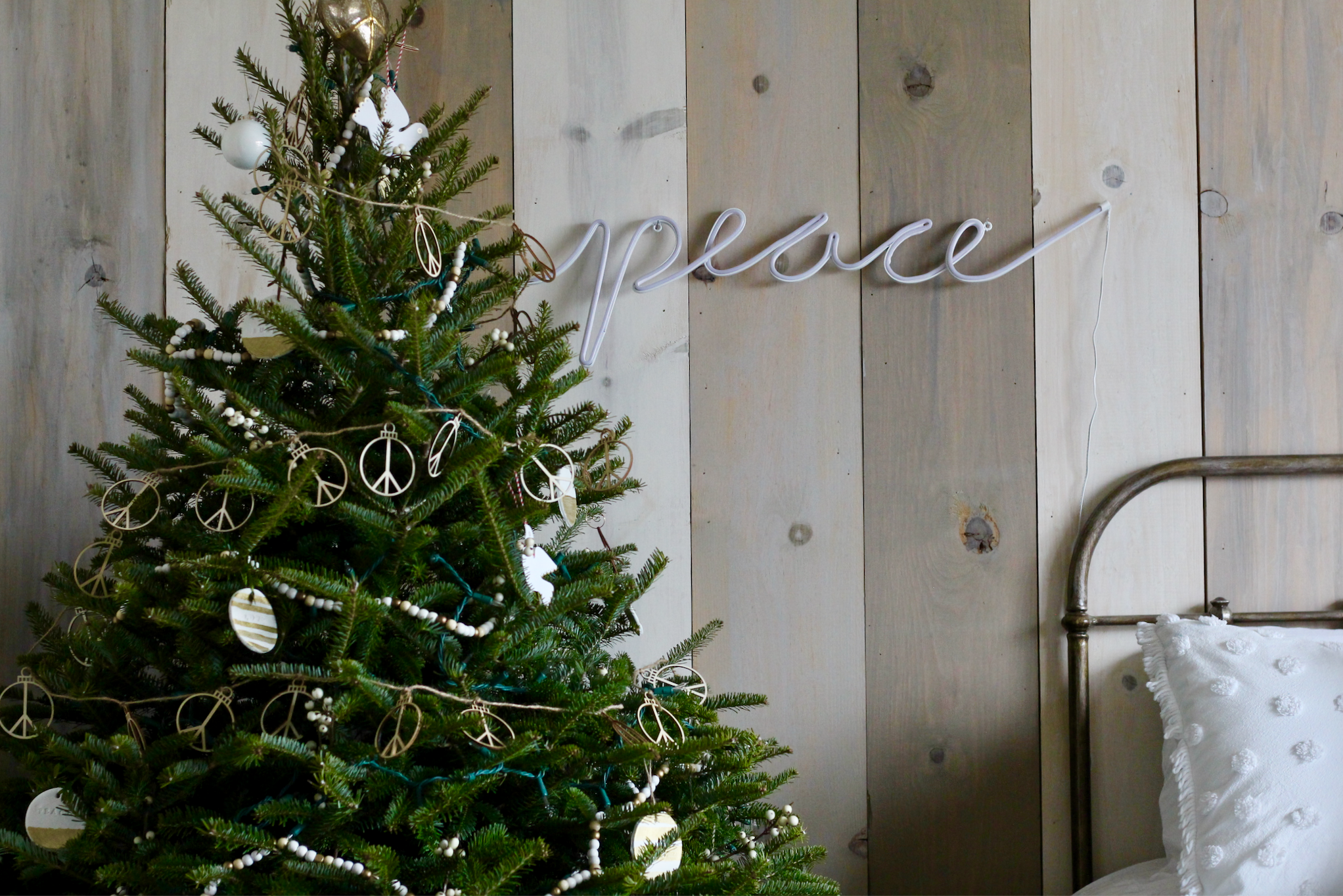 Peace neon sign from Potterybarn
