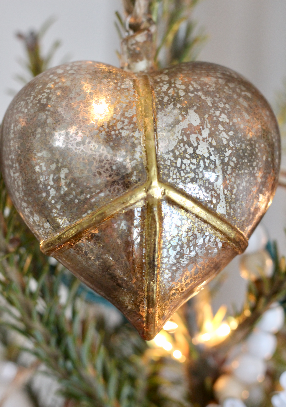 Peace Heart Ornament as Tree topper (From Pottery Barn)