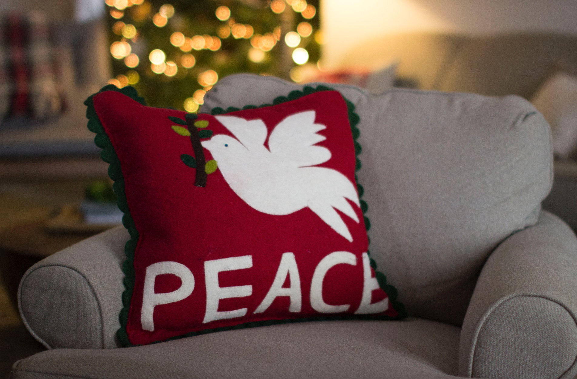 Den with Peace pillow from Home Goods