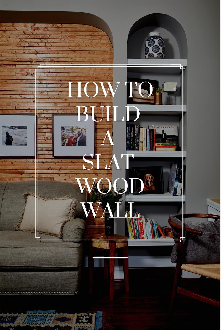 building a slat wood wall.