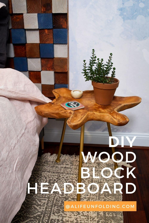 DIY WOODBLOCK HEADBOARD