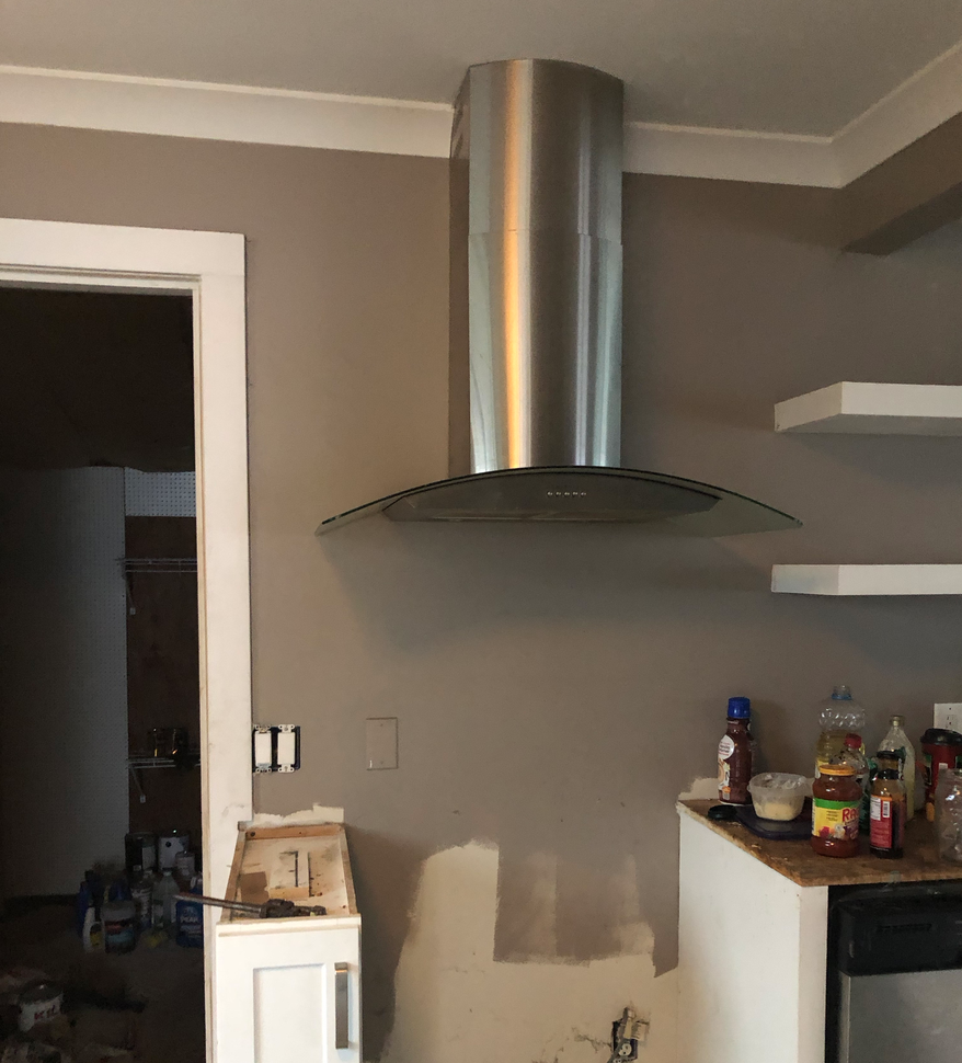 Before shot stainless hood vent