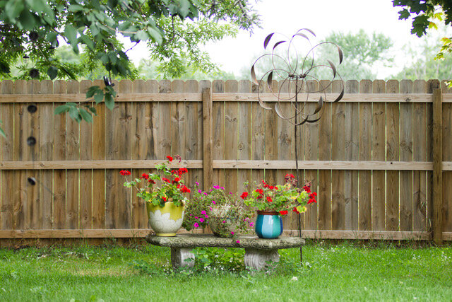 Concrete bench with Geraniums