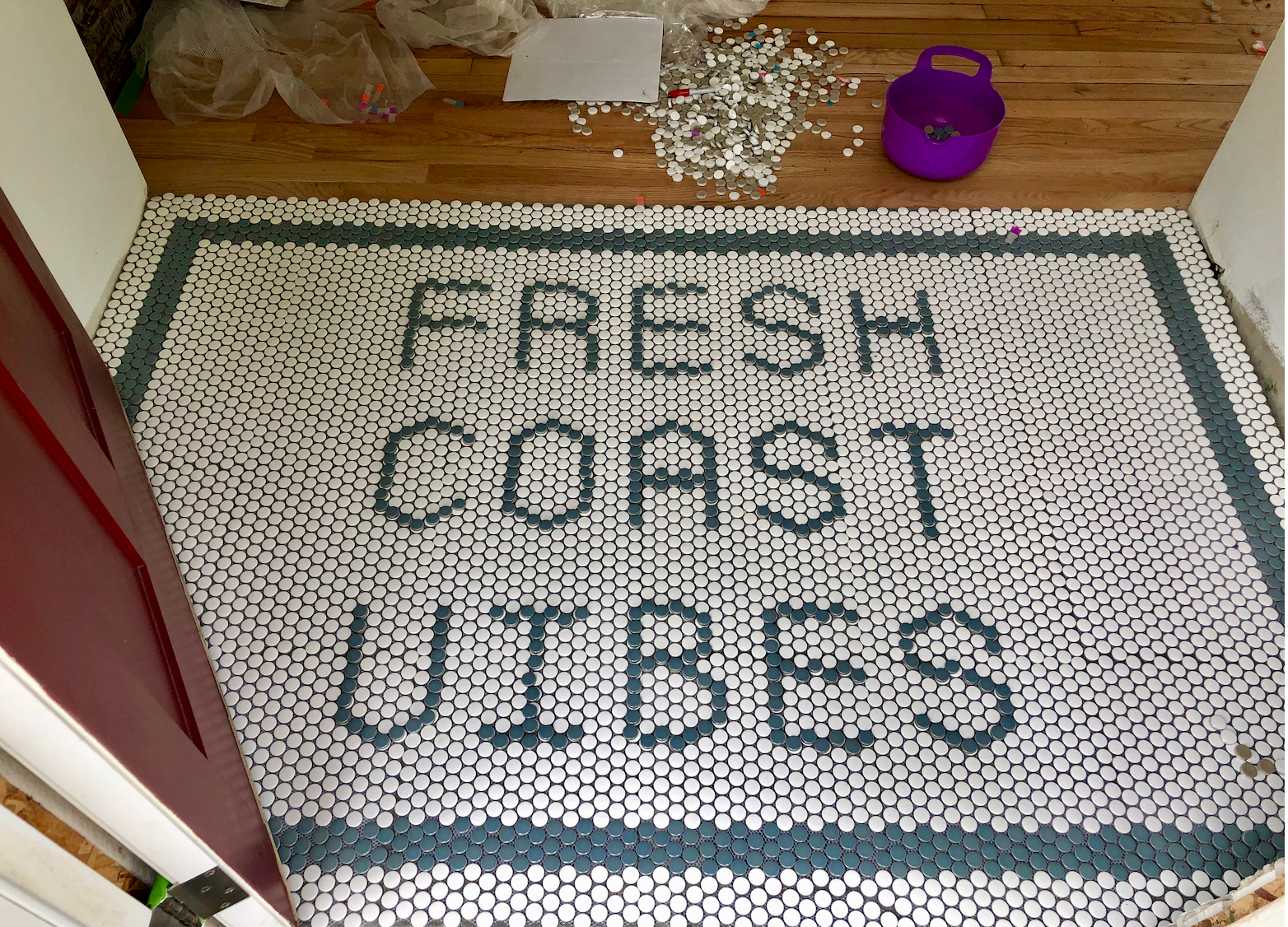 Still needs to be grouted.