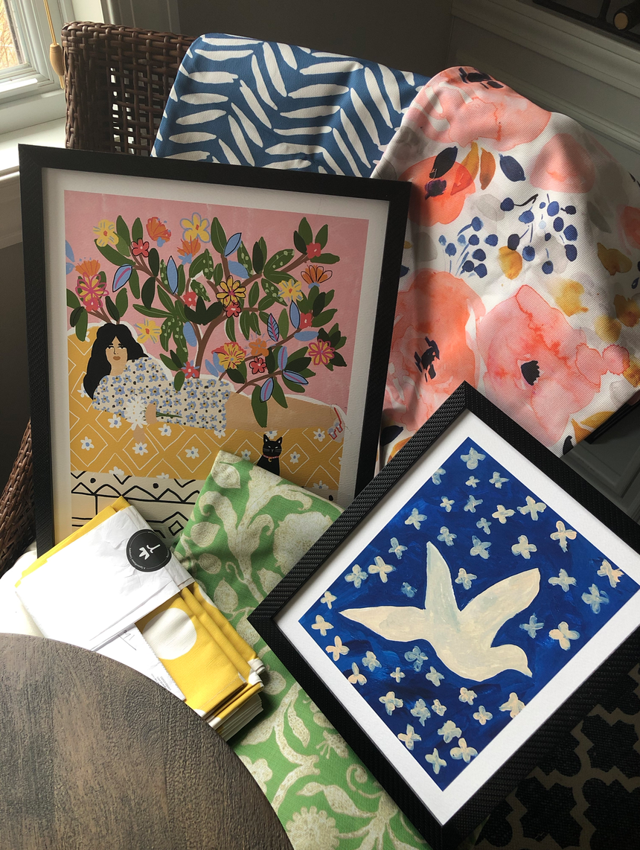 Loving my framed art prints and my Spoonflower fabrics
