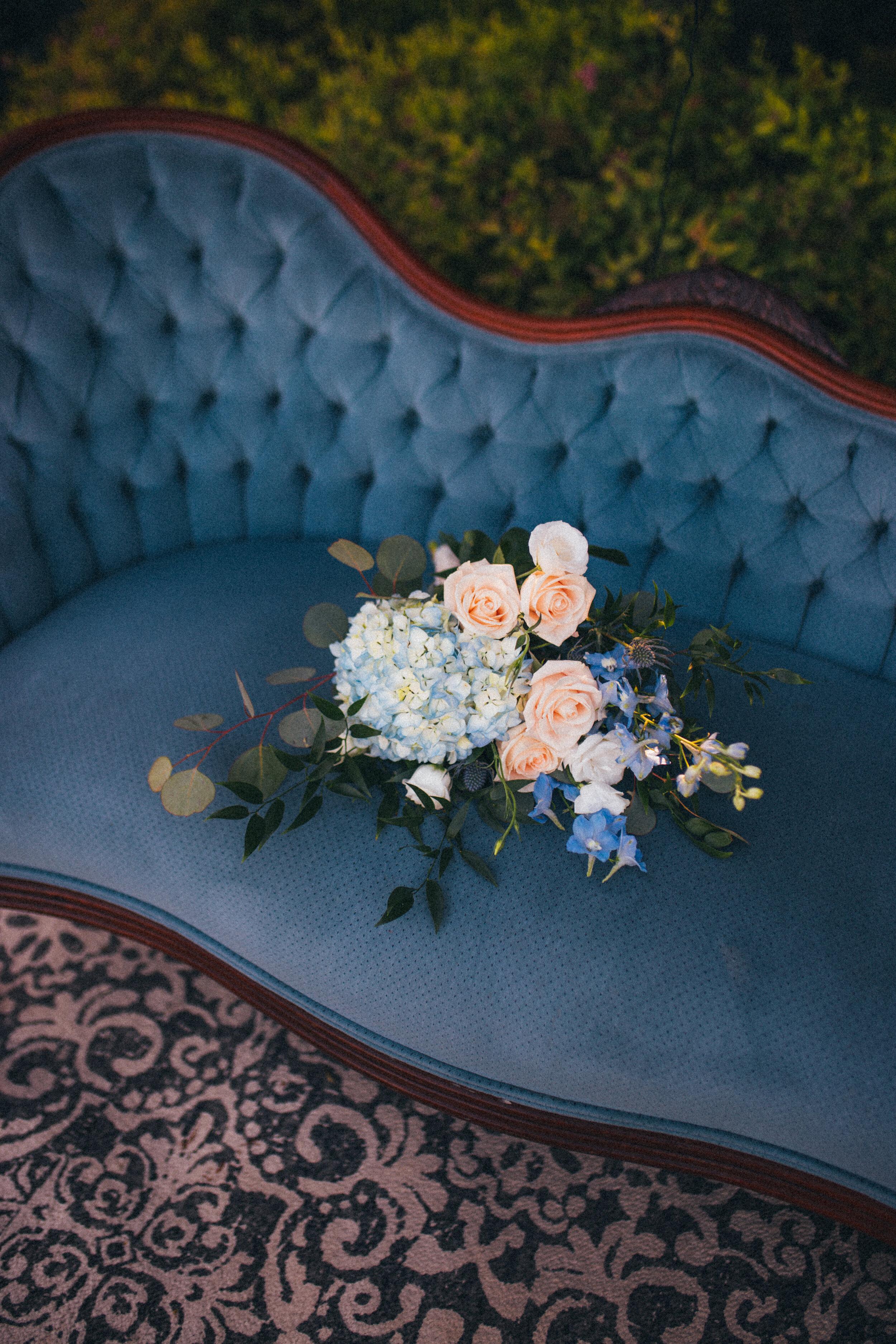 Bridal Bouquet with Hydrangeas, Delphinium and Juliet Roses