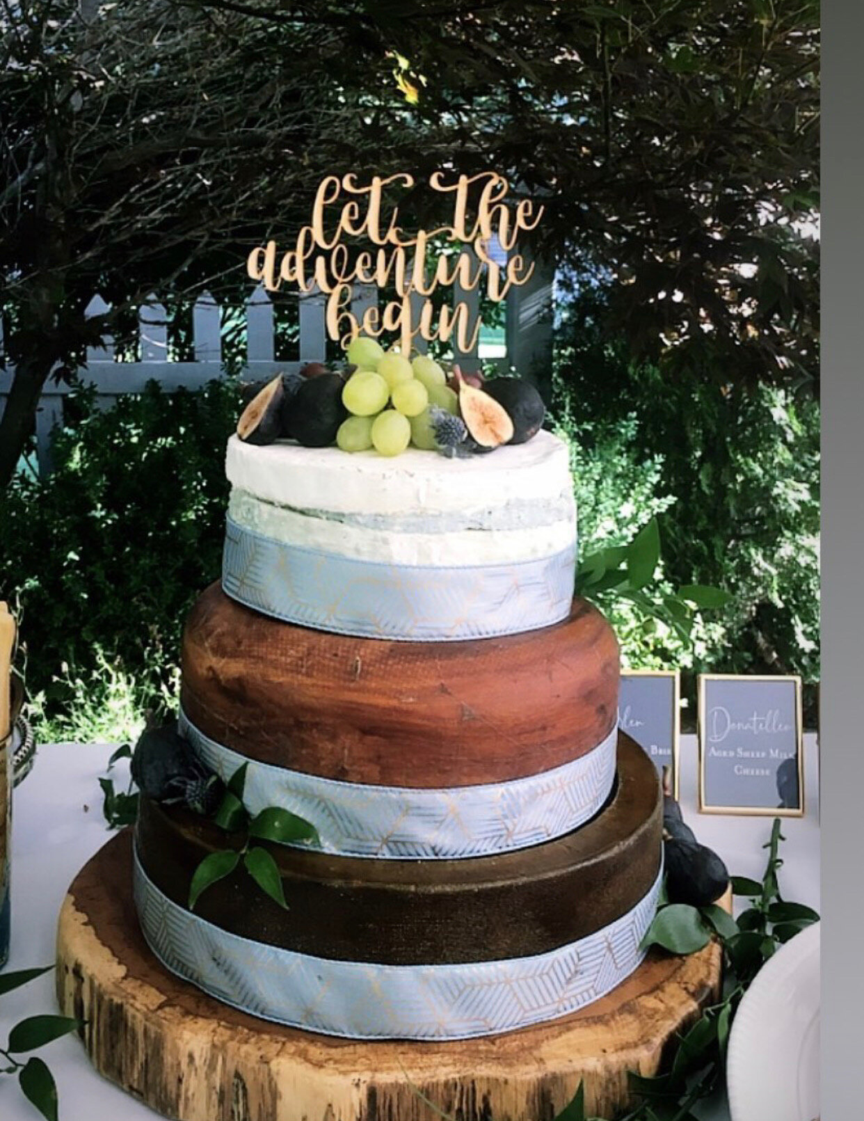 Serving cheese at a wedding. An alternative cake for a wedding