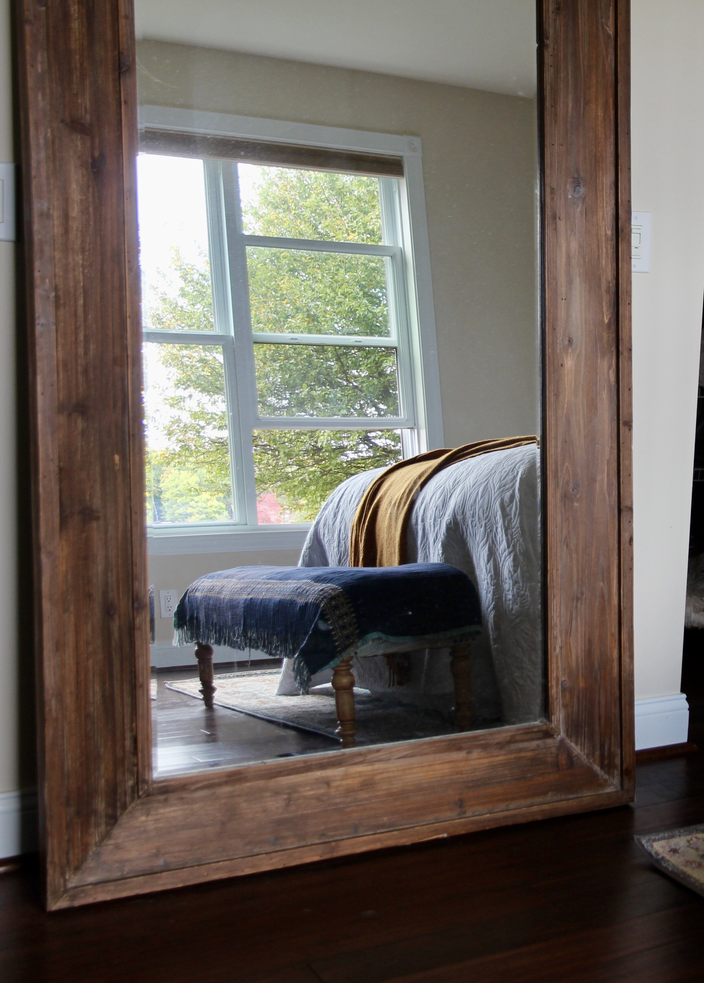 Large leaning mirror in Master bedroom
