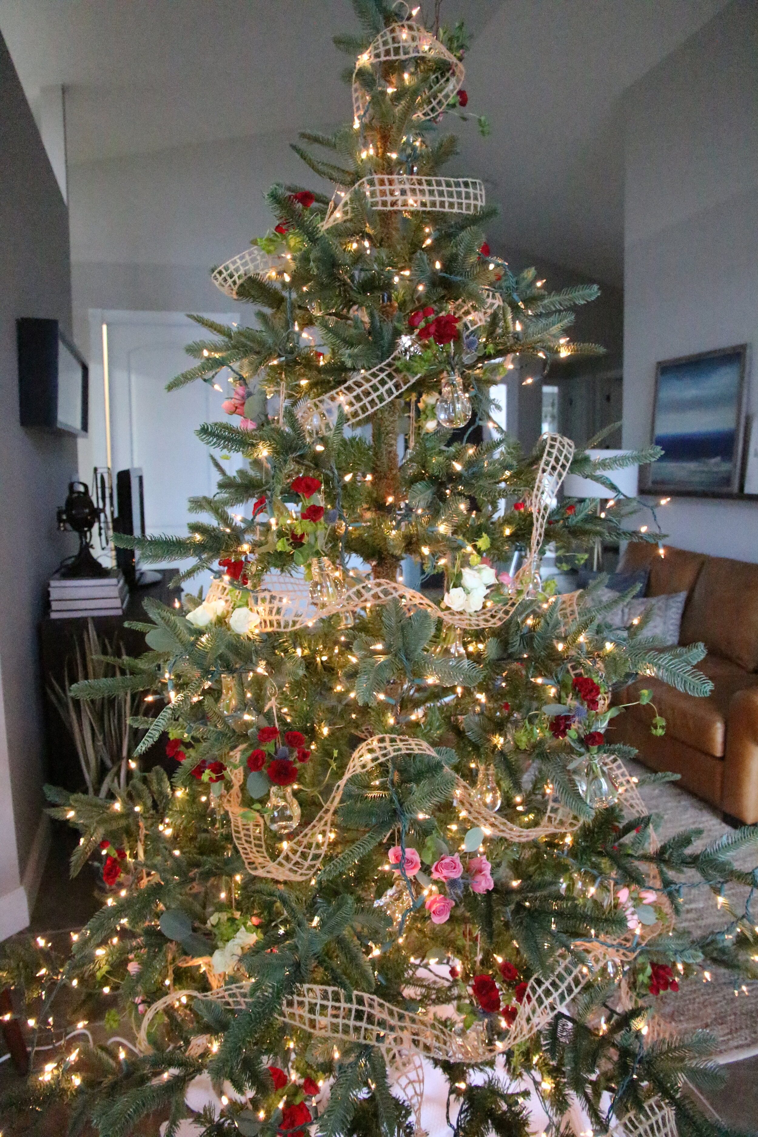 Christmas tree using fresh cut flowers