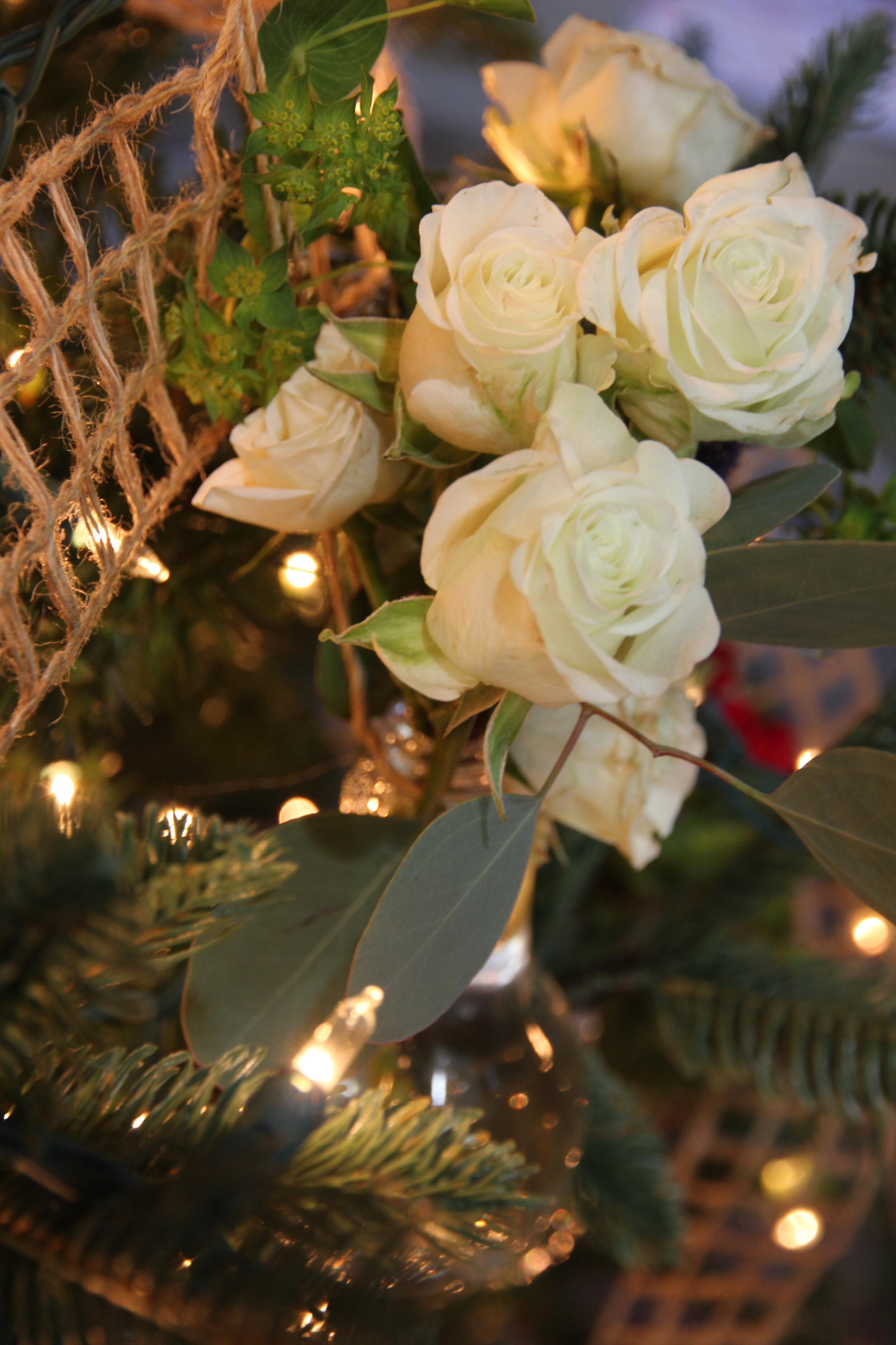 White roses on Christmas Tree