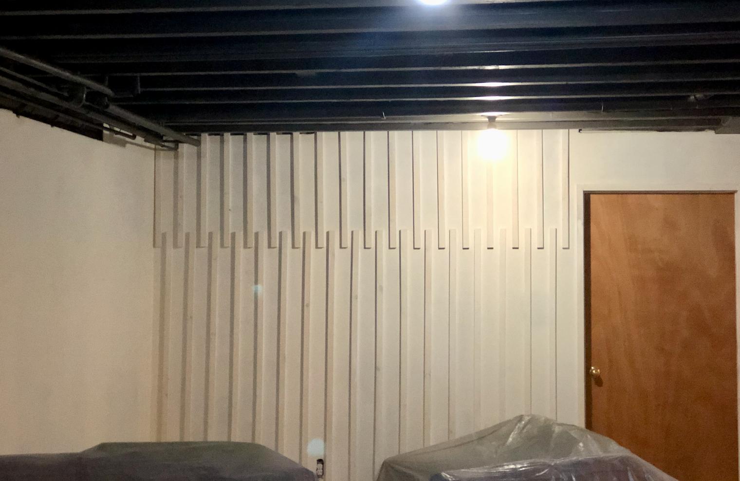 DIY wood accent wall progress