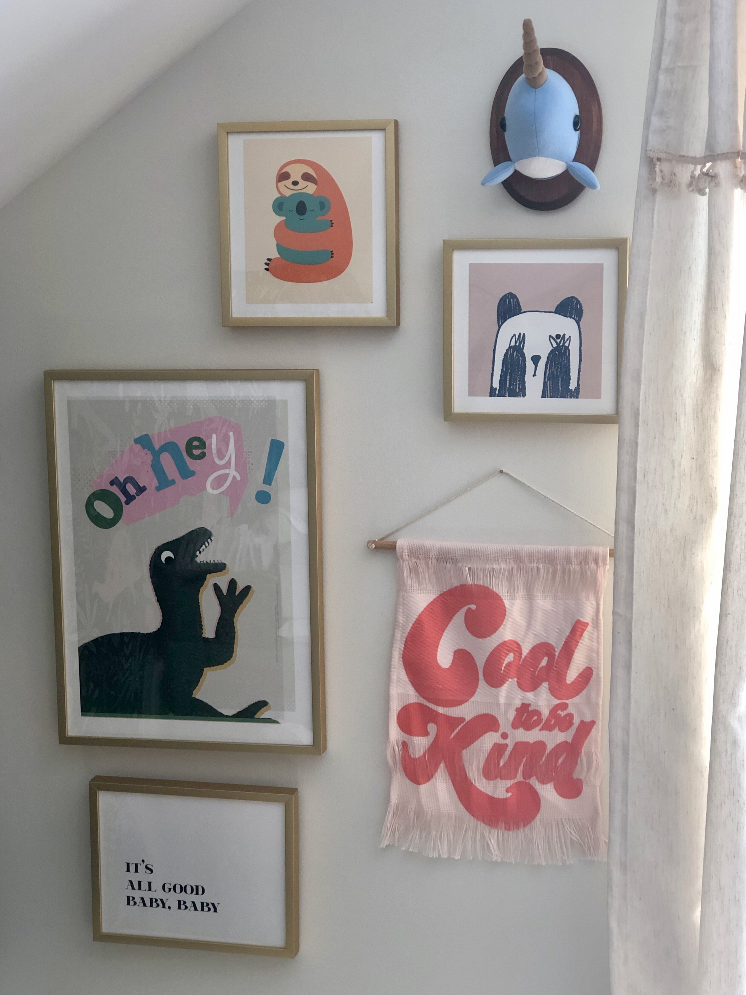 Mini gallery wall for babies room,