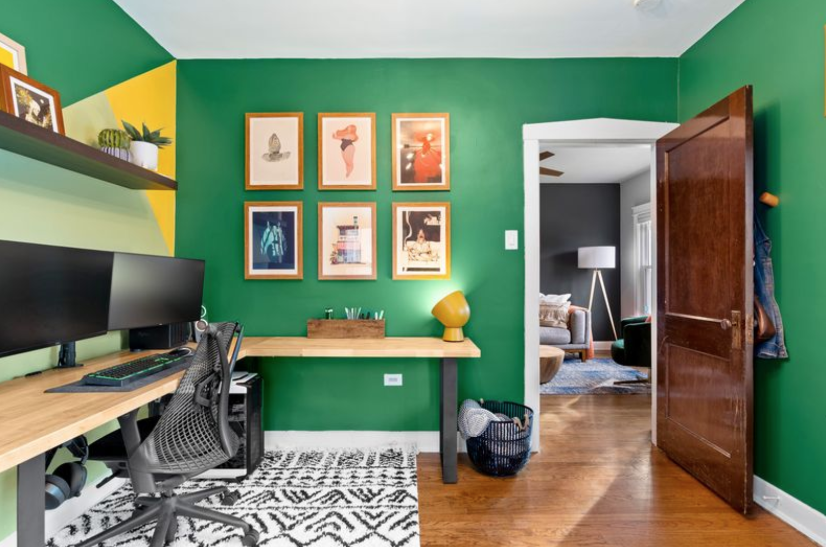 Framed prints in home office