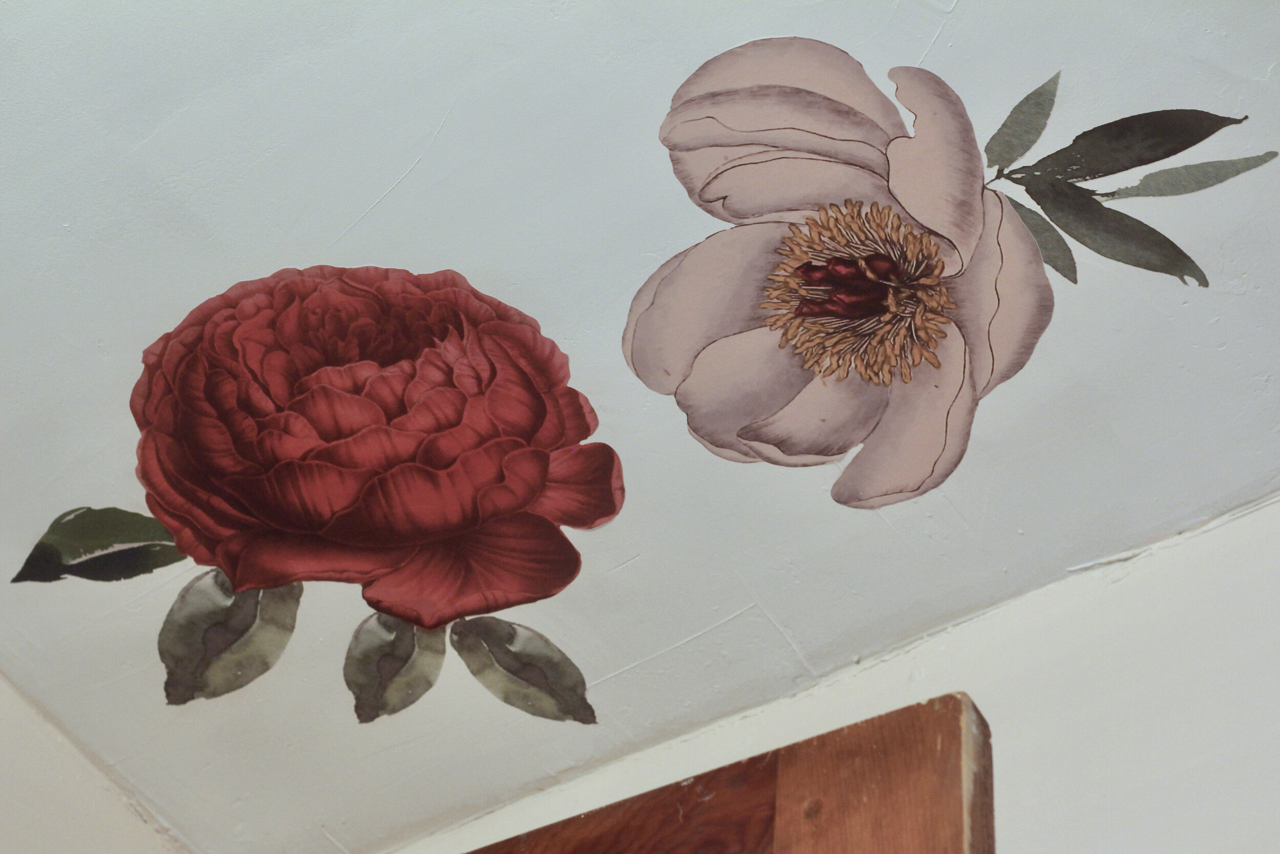 Floral decals on ceiling