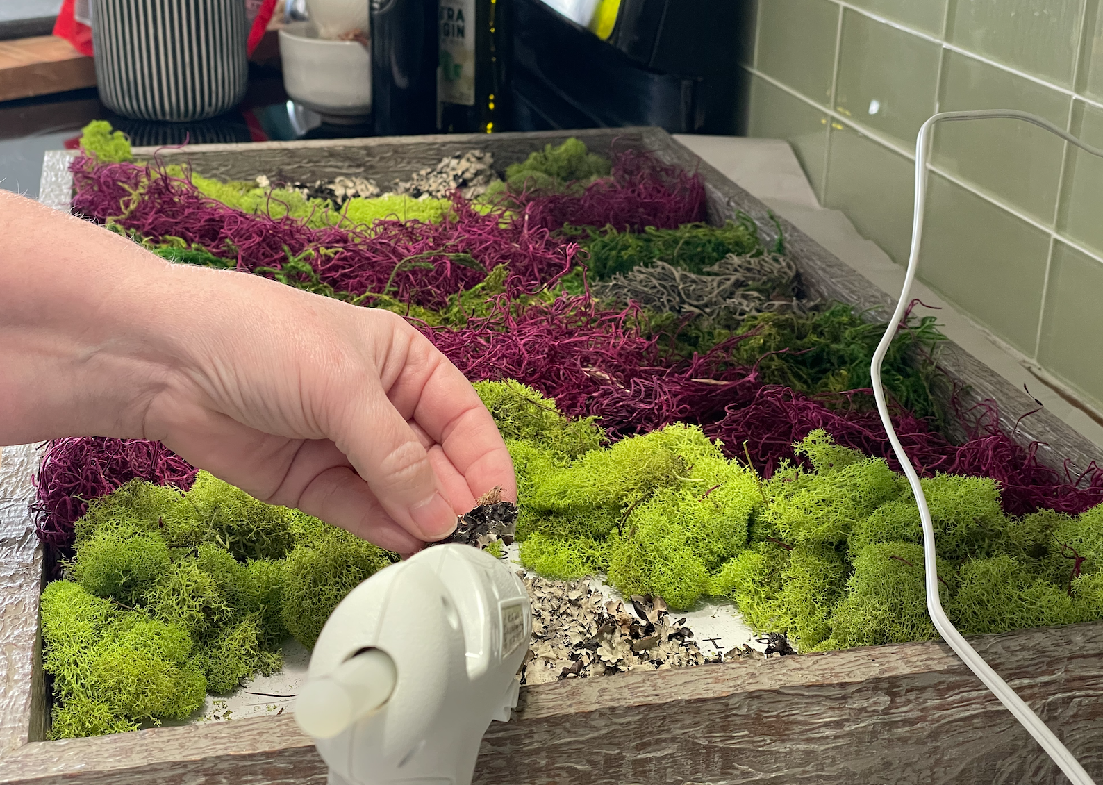 Gluing Moss to Frame