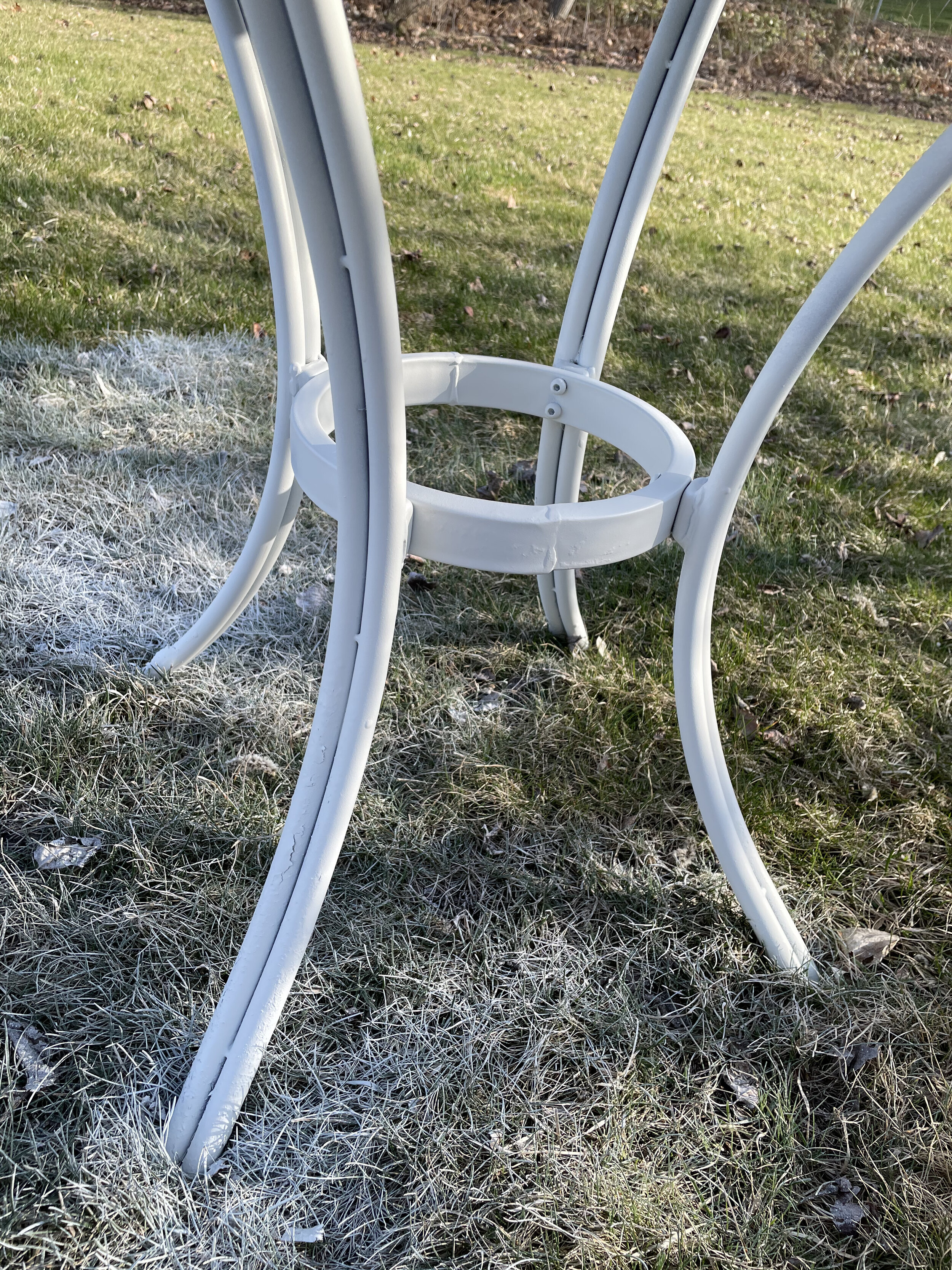 Table legs painted with  Rustoleum Spray paint
